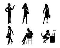 六个女实业家剪影 免版税库存照片