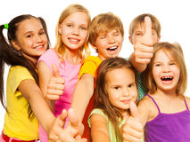六个孩子的滑稽的图片 免版税库存图片