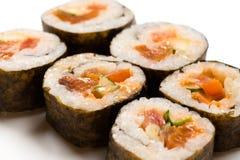 六个寿司卷特写镜头 免版税图库摄影