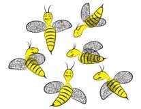 六个微笑的愉快的黄蜂 库存照片