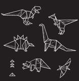 六个手拉的传染媒介origami动物和三角元素的汇集设计的 库存照片