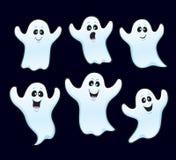 六个浮动万圣夜鬼魂 库存图片