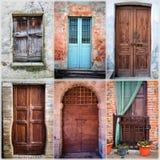 六个老木门拼贴画  颜色女儿图象母亲二 库存图片