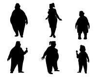 六个肥胖人剪影 免版税库存图片