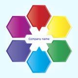 六个色的块的介绍 免版税库存照片