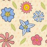 六个花无缝的样式 库存照片