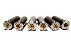 六个被射击的弹壳,口径 357大酒瓶 免版税库存图片