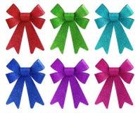 六充满活力的颜色闪烁礼品弓集 图库摄影