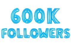 六十万个追随者,蓝色颜色 库存照片