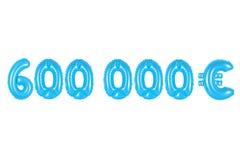 六十万欧元,蓝色颜色 库存照片