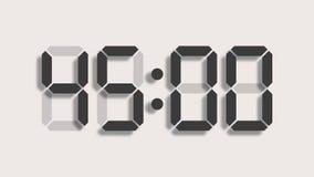 从六十的数字钟读秒到零-充分的HD LCD显示-灰色数字在清楚的背景和与一个轻的阴影 皇族释放例证