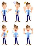 六姿态和人表情  库存照片