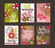 六张圣诞卡的汇集 库存照片