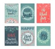 六张圣诞卡的汇集 图库摄影