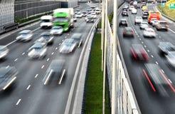 六条车道受控通入高速公路在波兰 免版税图库摄影