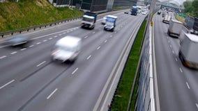 六条车道受控通入高速公路在波兰 股票视频
