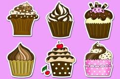 六杯形蛋糕贴纸汇集 免版税库存照片