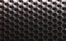 六角墙壁纹理表面 灰色梯度摘要样式背景 免版税库存照片