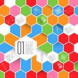 六角形与象集合的Infographic设计 库存图片