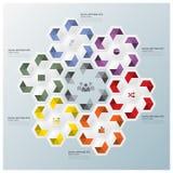 六角形几何形状事务Infographic 免版税库存图片