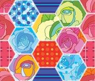 六角形大五颜六色的玫瑰样式无缝的样式 免版税图库摄影