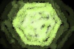 六角形形状以霓虹绿色有退色的不透明背景-抽象数字式例证墙纸,织地不很细与刷子设计 向量例证