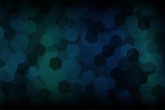 六角形形状摘要有深蓝和深绿梯度背景 向量例证