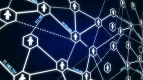 六角形栅格和连接标示用社会网络概念的4K UHD 3840 x 2160人象 皇族释放例证