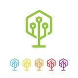 六角形树技术标志 免版税库存照片