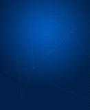 六角形样式深蓝背景与被连接的线的 免版税图库摄影