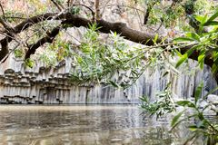 六角形水池-戈兰高地的著名地方在以色列 免版税图库摄影
