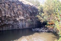 六角形水池-戈兰高地的著名地方在以色列 免版税库存图片