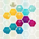 六角形的地图Infographic 免版税库存照片