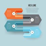 六角形的线Infographic 免版税库存图片