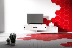 六角形红色瓦片的颜色和最小白色的硬木地板- 3d?? 皇族释放例证