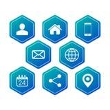 六角形联络名片的通信象,网,应用程序 : 库存例证