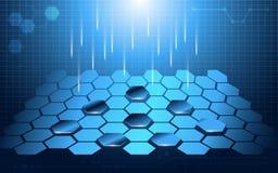 六角形长方形摘要技术透视设计背景 免版税图库摄影