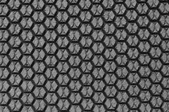 六角形黑色橡胶纹理  免版税图库摄影