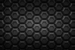 黑六角形Honeyomb现代技术黑色摘要3d支持 免版税库存照片