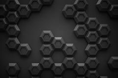 黑六角形Honeyomb现代技术黑色摘要3d支持 免版税库存图片