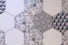 六角瓦片马赛克背景设计 免版税库存照片