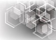 六角线摘要技术背景,未来派comput 库存照片
