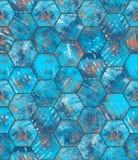 六角蓝色脏的金属铺磁砖了无缝的纹理 库存图片