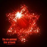 六针对性的大卫王之星,光亮的红色不可思议的传染媒介星 皇族释放例证