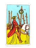 6六鞭子是占卜用的纸牌成功胜利胜利赢取一次大胜利的成就奖 免版税库存图片
