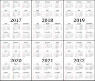 六年的日历- 2017年, 2018年, 2019年, 2020年, 2021年和2022年 免版税图库摄影