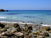 兰佩杜萨海岛的海在意大利 库存照片