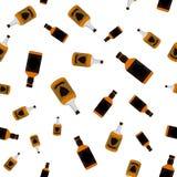 兰姆酒装瓶无缝的样式 酒精饮料平的样式设计 图库摄影