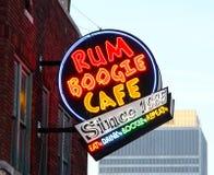 兰姆酒识别不明飞机咖啡馆路牌, Beale街孟菲斯, 库存照片
