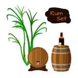 兰姆酒集合 甘蔗,舵,桶,玻璃,瓶兰姆酒 免版税库存照片